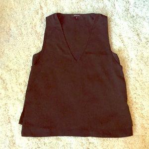 V-neck black blouse
